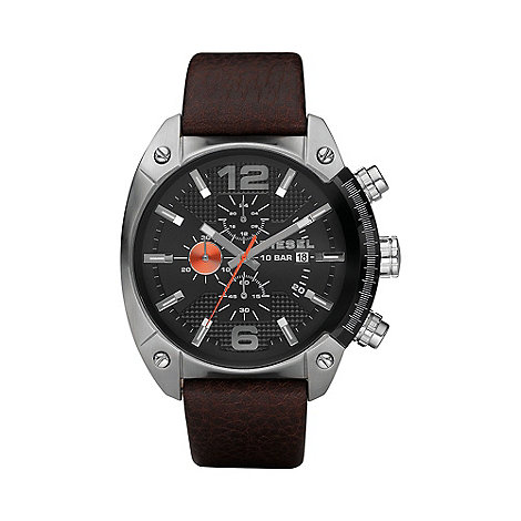 Diesel - Men+s +Overflow+ black dial & leather strap watch