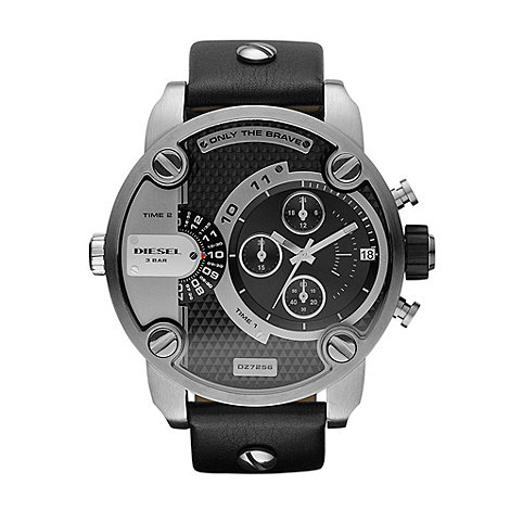 Diesel - Men+s black large chronograph watch