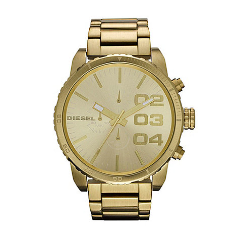Diesel - Men+s gold large chronograph watch