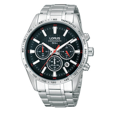 Lorus - Men+s black chronograph dial bracelet watch