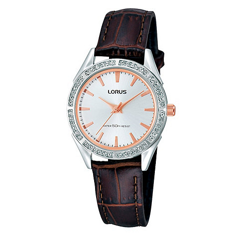 Lorus - Ladies brown diamante bezel watch