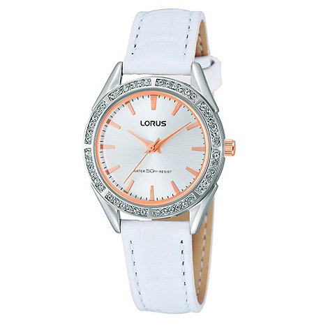 Lorus - Ladies white diamante bezel watch