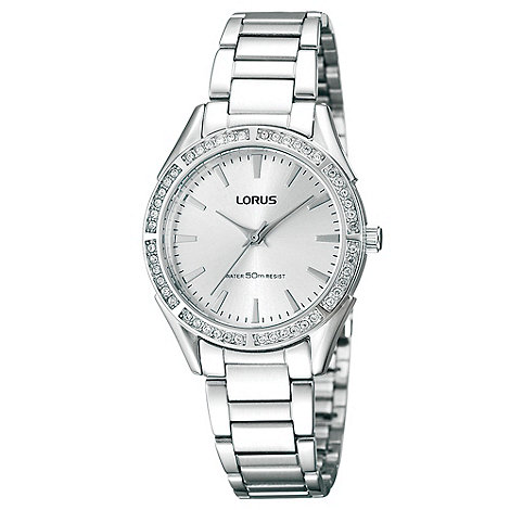Lorus - Ladies silver stone bezel watch