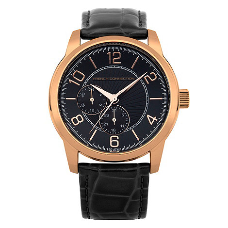 French Connection - Men+s black multi dial mock-crocodile strap watch