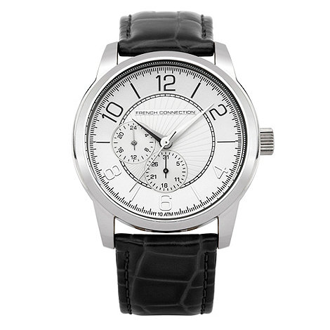 French Connection - Men+s black and silver multi dial mock-crocodile strap watch