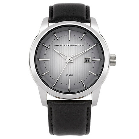 French Connection - Men+s black round dial watch