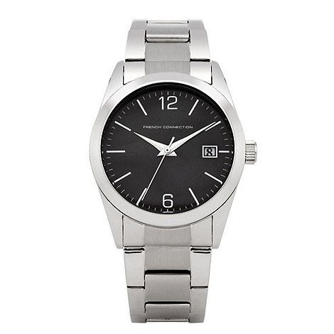 French Connection - Men+s silver and black analogue dial bracelet watch