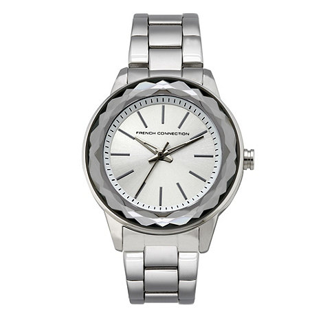 French Connection - Ladies silver faceted case watch