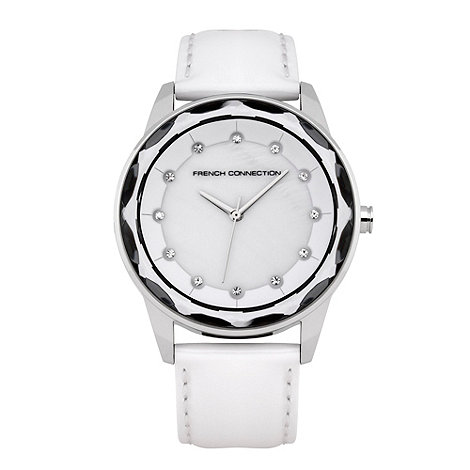 French Connection - Ladies white zigzagging bezelled watch