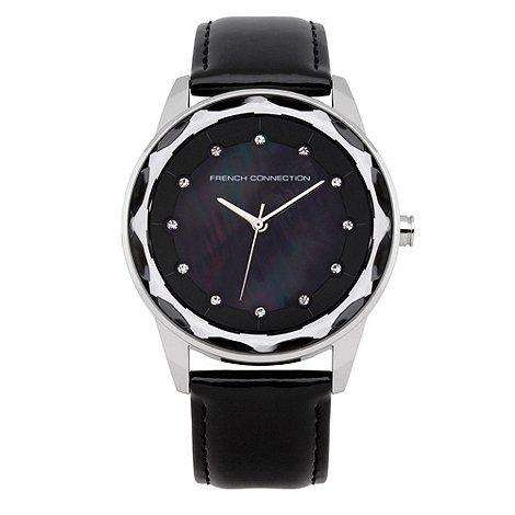 French Connection - Ladies black zigzagging bezelled watch