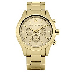 French Connection - Ladies gold diamante chronograph dial watch