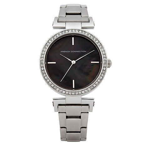French Connection - Ladies silver diamante case watch