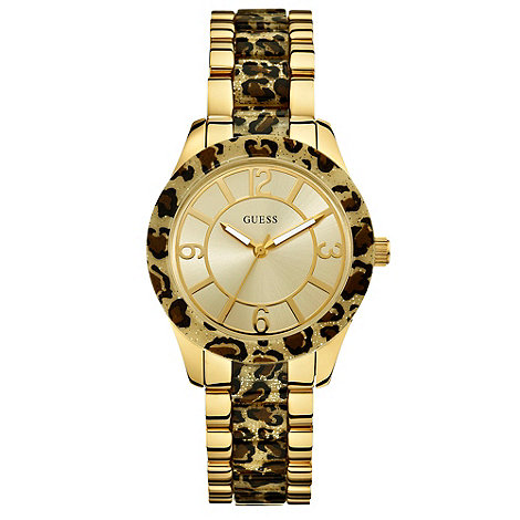 Guess - Ladies leopard print and gold watch