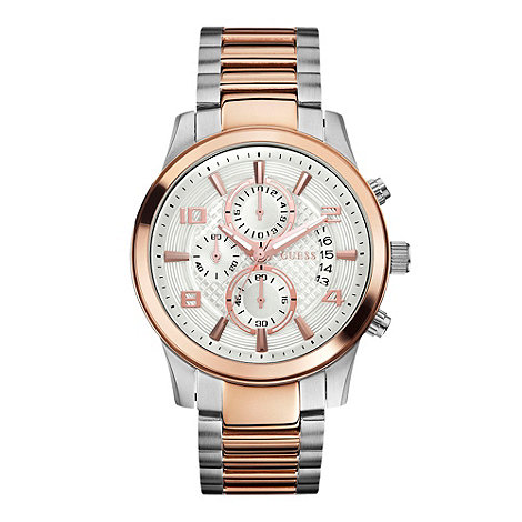 Guess - Mens silver two tone chronograph watch
