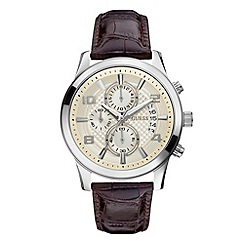 Guess - Mens brown textured chronograph watch