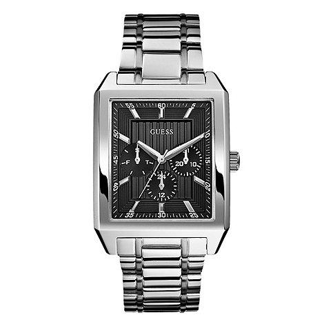 Guess - Men+s black rectangular multi dial bracelet watch