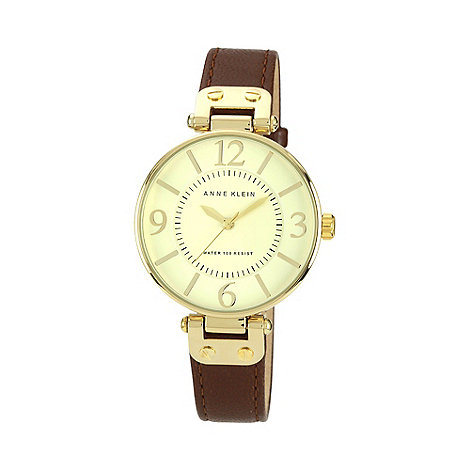Anne Klein - Ladies brown leather strap watch