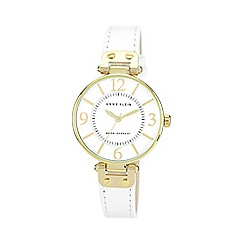 Anne Klein - Ladies white leather strap watch