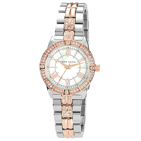 Anne Klein - Ladies silver mixed link bracelet watch