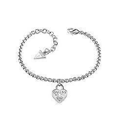 Guess - Rhodium plated 1981 heart charm bracelet ubb82104-l