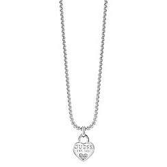 Guess - Heart Rhodium plated charm necklace