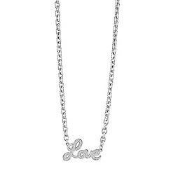 Guess - Rhodium plated 'Love' Charm necklace ubn82062
