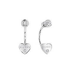 Guess - Rhodium plated double earrings