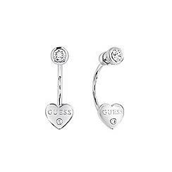 Guess - Rhodium plated heart stud earrings ube82004