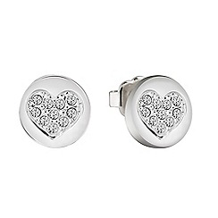 Guess - Rhodium plated stud heart earrings ube82042
