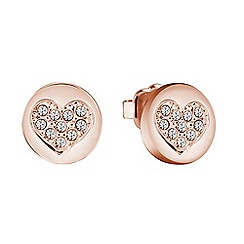 Guess - Rose gold plated stud heart earrings ube82044