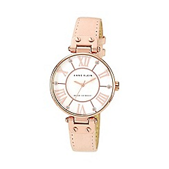 Anne Klein - Ladies light pink leather strap watch