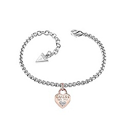 Guess - Rhodium and rose gold plated 1981 heart charm bracelet ubb82105-l