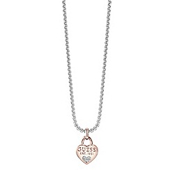 Guess - Rhodium and rose gold plated chain 1981 heart charm necklace ubn82095