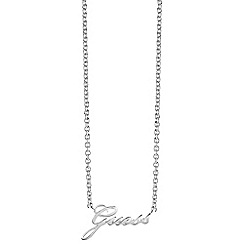 Guess - Rhodium plated Signature charm necklace ubn82056