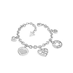 Guess - Rhodium plated heart charm chain bracelet ubb82048-l