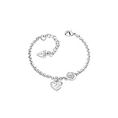 Guess - Rhodium plated sparkle heart chain bracelet ubb82057-l