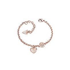 Guess - Rose gold plated sparkle heart chain bracelet ubb82059-l
