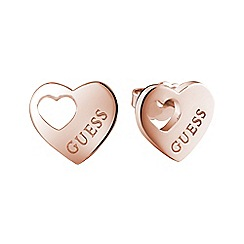 Guess - Rose gold plated heart stud earrings ube82041