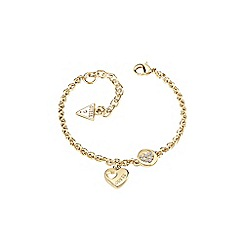 Guess - Gold plated sparkled heart chain bracelet ubb82058-l