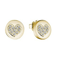 Guess - Yellow gold plated heart stud earrings ube82043