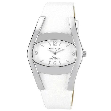 Anne Klein - Ladies white leather strap watch