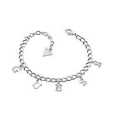 Guess - Charm rhodium plated link bracelet