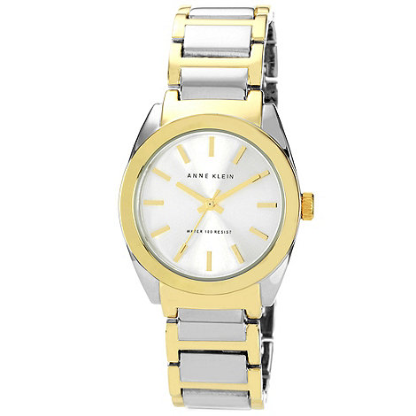 Anne Klein - Ladies gold bezel mixed link bracelet watch