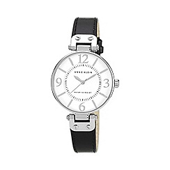 Anne Klein - Ladies black leather strap watch