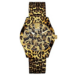 Guess - Ladies leapard print strap watch