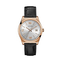 Guess - Mens silver and rose gold watch with black crocodile leather strap w0874g2
