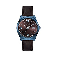 Guess - Mens blue and brown watch with brown crocodile leather strap w0874g3