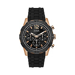 Guess - Mens rose gold and black watch w0864g2