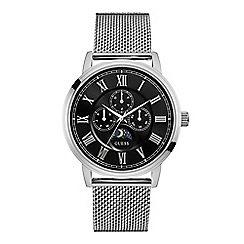 Guess - Men's silver and black watch with silver mesh bracelet