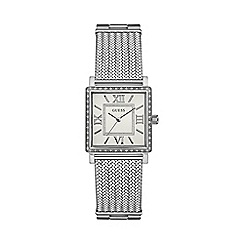 Guess - Ladies silver watch with crystal detailing and silver mesh bracelet